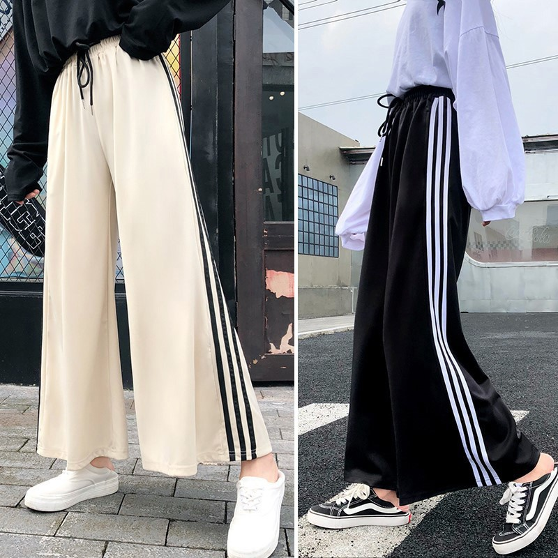 Simple Casual High Waist Solid Color Straight   Pants   For Women Fashion Loose Women\'s   Wide     Leg     Pants