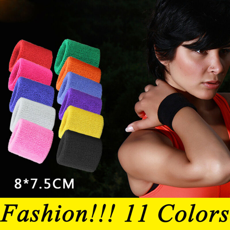 2 X Sports Wrist Sweat Bands Wristbands Fitness Sweatbands Gym Tennis Unisex US