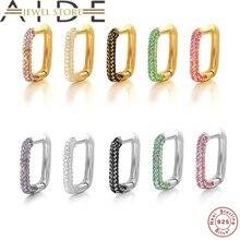 Aide 1pc 925 prata esterlina colorido zircon grande círculo hoop brincos para as mulheres u forma huggies orelha fivelas brinco jóias presente