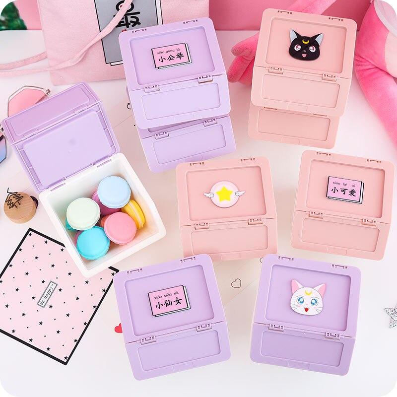Kawaii Stationery Storge Box For Tape Lipstick Plastic Pill Office School Student Utilitie Supplies Desktop Craft Organizer Bead