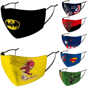 Superhero Iron Man Batman The Flash Hulk Deadpool Captain America Spider Cosplay Face Mask Kids Dustproof Masks Prop
