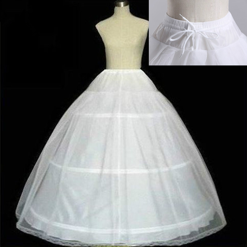 Free Shipping High Quality White 3 Hoops Petticoat Crinoline Slip Underskirt For Wedding Dress Bridal Gown In Stock