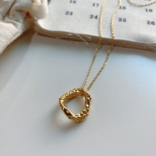 Korean style simple personality sterling silver 925 womens irregular gold and necklace jewelry