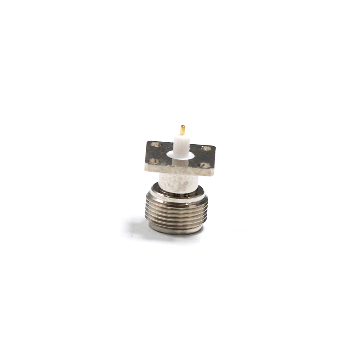 1pc NEW  N Female Jack  RF Coax Adapter convertor Connector  solder post   4-hole panel mount   Insulator Long 4mm  Nickelplated