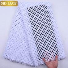 SJD LACE – tissu africain en dentelle Guipure de haute qualité, Soluble dans l'eau, pour robe de mariée nigériane, blanc pur, 2020