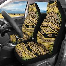 PolynesianTraditional Tribal Seat Cushions Front Saddle Blanket Comfort Covers 2 Packs Car Cover for Most Car,Sedan,SUV,Van