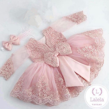 Long Sleeve Pink Lace Flower Girls Dresses Ball Gowns Bow Back Long Sleeve Pink Communication Dress Celebrity Dress little girls dress with short sleeves mesh kids ball gowns pink bow vestido nina long children fancy dress for girls 2 12 years