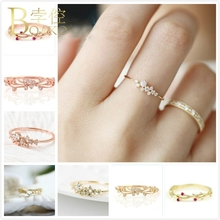 BOAKO Flower Rings For Women Wedding Crystal Ring Engagement Rose Gold Zircon Dainty Bridal Femme anillos Girl Jewelry K5