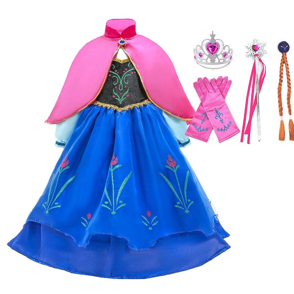 Princesse déguisement pour filles reine des neiges Anna 2 Cosplay robes perruque enfants noël fête d'anniversaire robe bébé fille vêtements accessoire
