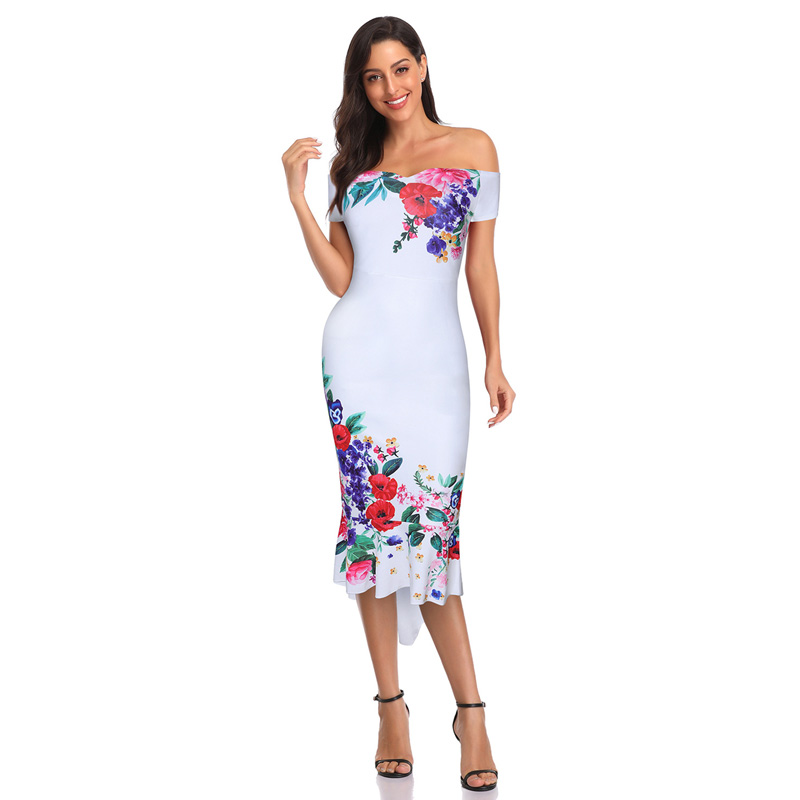 Bonnie thea women 2020 summer printed fishtail <font><b>dress</b></font> lady <font><b>elegant</b></font> party <font><b>sexy</b></font> <font><b>dress</b></font> <font><b>long</b></font> <font><b>dress</b></font> image