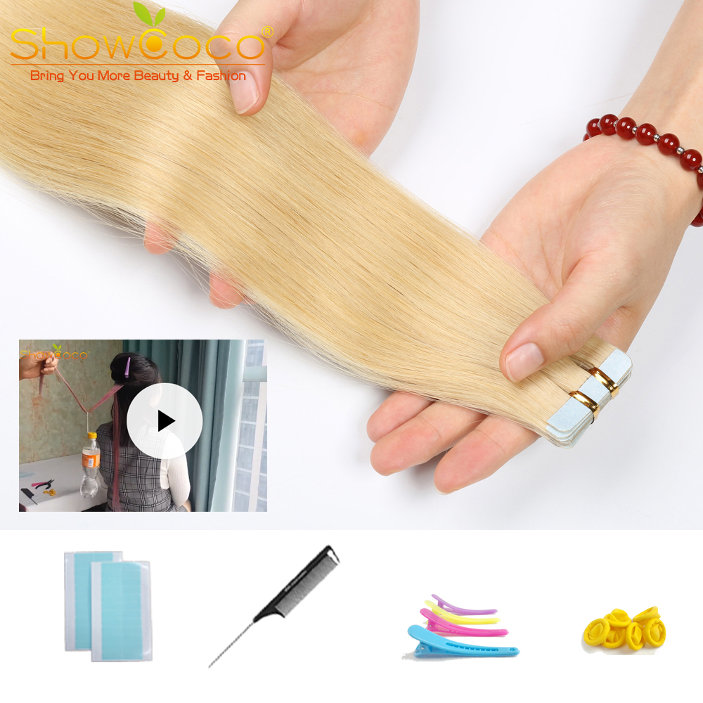 ShowCoco Tape Hair Real Human Hair Extension Straight Skin Weft Balayage Straight 16-24 Inch Remy Hair