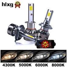 Hlxgミニサイズcanbus led H7 H4 H11 H1 6000 6000k電球12000LM車のヘッドライトキット自動h7のledないエラー9005 9006 hb3 hb4ランプ