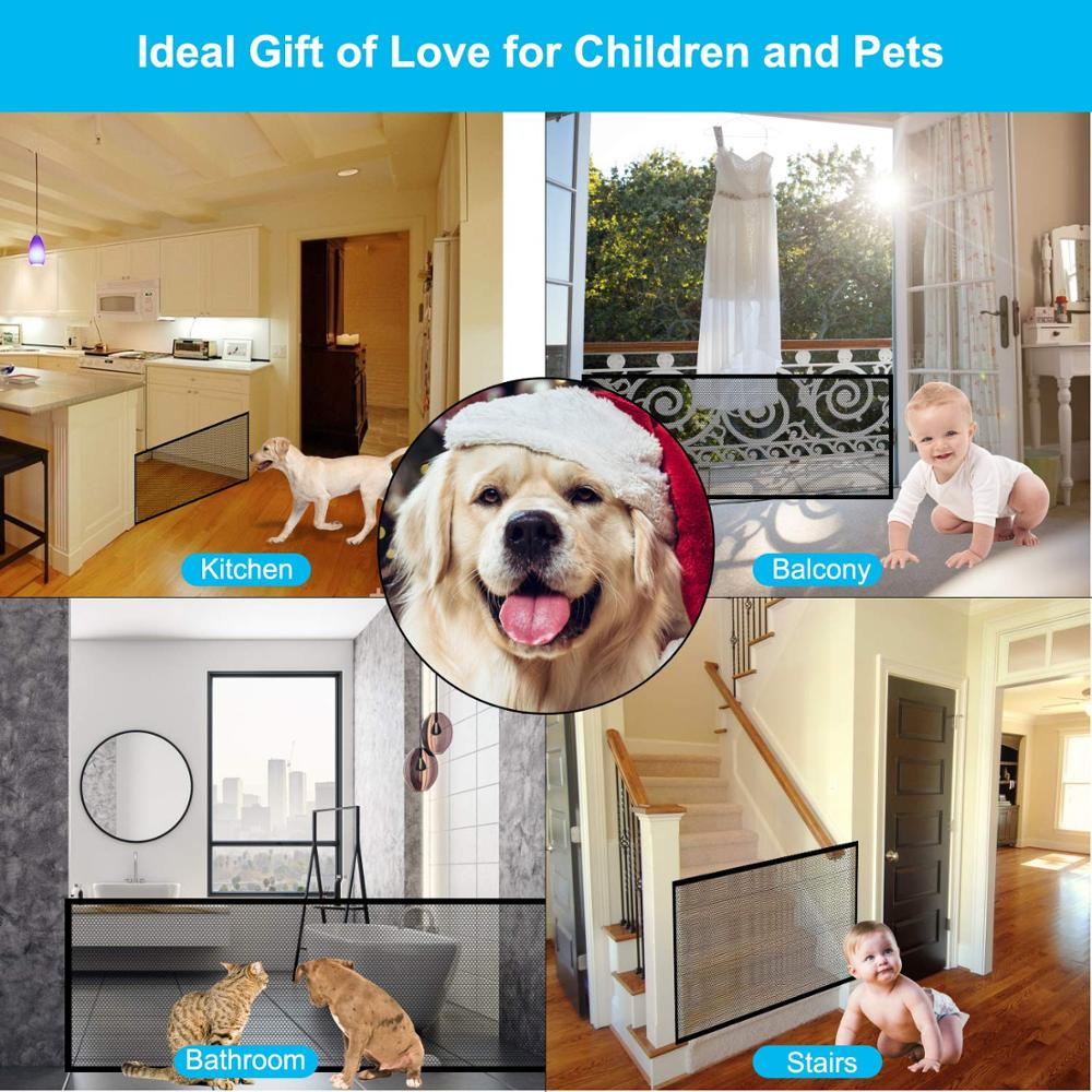 Mesh Dog Gate Retractable Fence Dog Indoor Removable Pasteable Dog Safety Gate for Dog Enclosure Pet Supplies Dropshipping