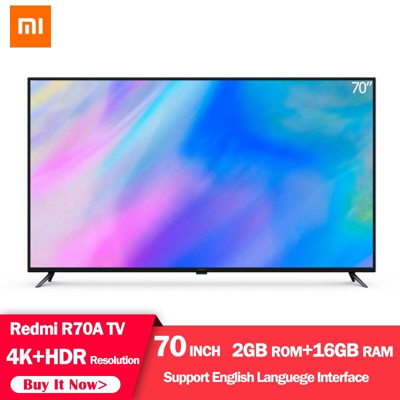 Orijinal Xiaomi Redmi akıllı TV 70 inç 4K HDR çözünürlük ev sineması televizyon 2GB + 16GB destek dolby ses ev ofis için