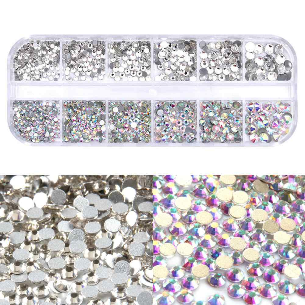 Cristal Nail Art strass décoration taille mixte clair AB Non Hotfix Flatback Gem bricolage Nail Art pour manucure à ongles