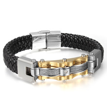 Men PU Wedding Exquisite Leather Boys Beautiful New Arrival Stainless Steel Hot Sale Bracelet Black Weave Punk