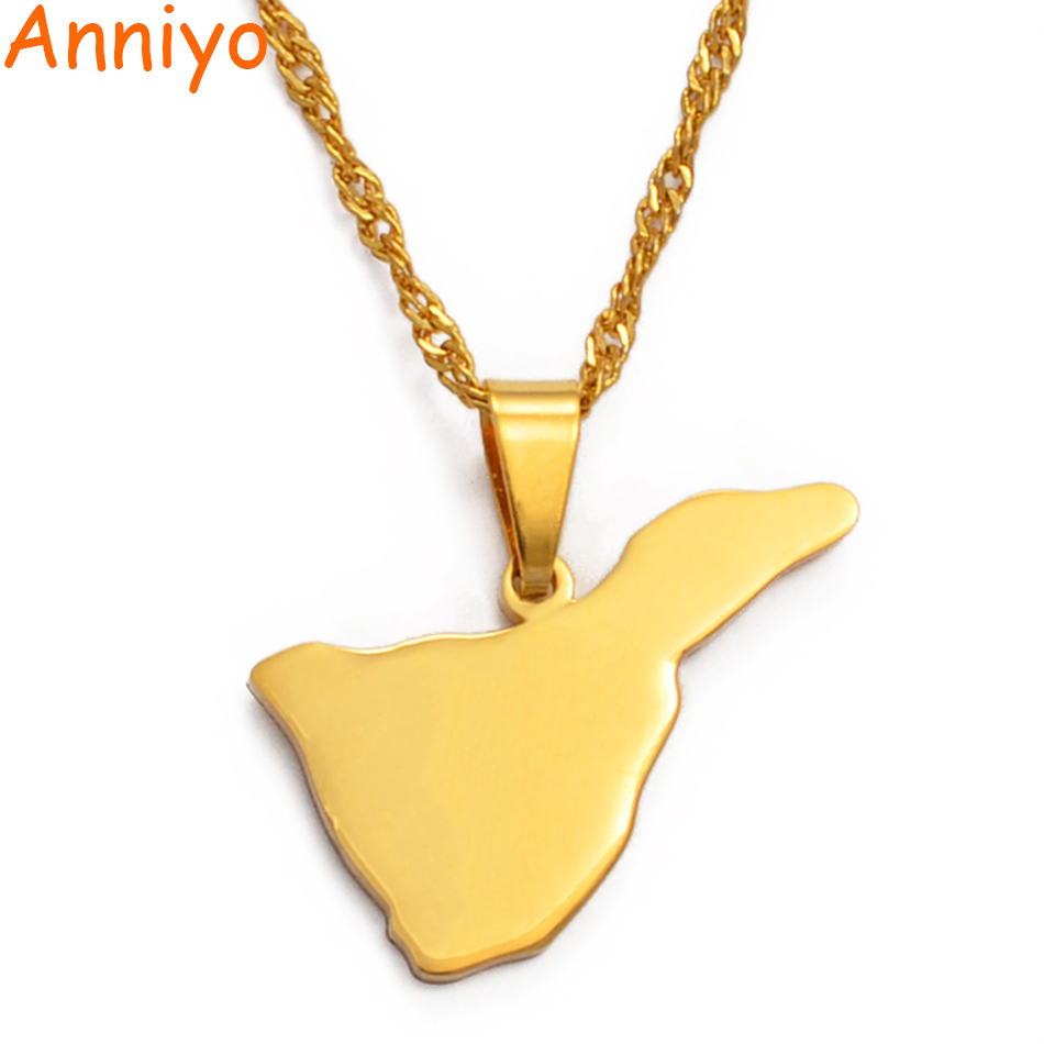 Anniyo Spain Canary Islands Tenerife Map Pendant Necklaces for Women Girl Gold Color Jewelry Gifts #024921