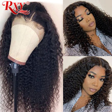 RXY Lace Front Human Hair Wigs Kinky Curly 360 Lace Frontal