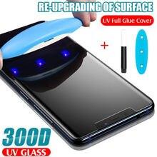 Uv 300d vidro temperado para o iphone 11 pro max xs x xr protetor de tela líquido completo para o iphone se 2 2020 7 8 6s mais filme de vidro