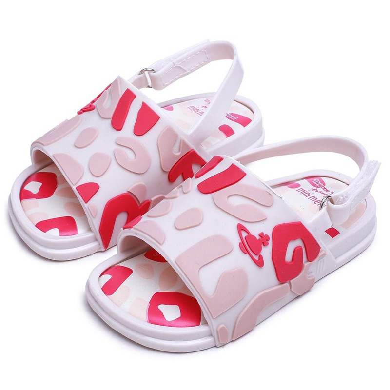 Mini Melissa 2020 Summer Girl Flat Shoes Boys Jelly Shoes Non-slip Kids Beach Sandal Toddler Shoe Soft Sandals H12