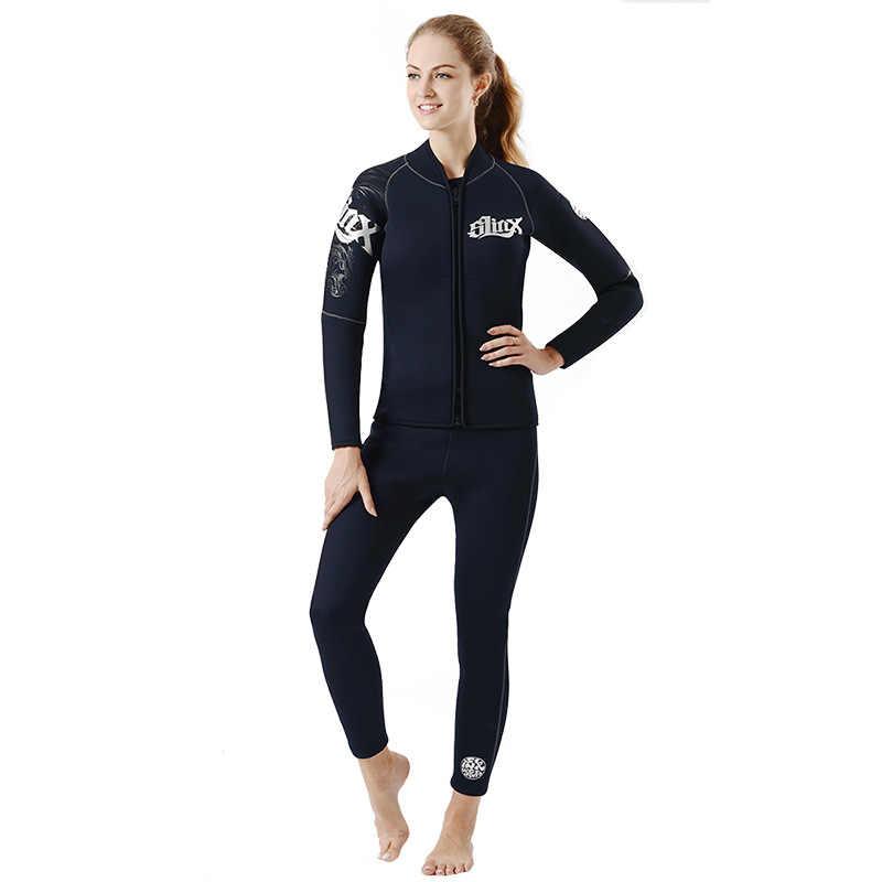 Wetsuit üst ve alt 5mm SCR uzun kollu Neopren Wetsuit Zip ceket pantolon erkekler kadınlar tüplü dalgıç kıyafeti şnorkel yüzme