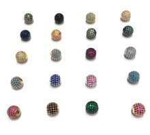 Brass Micro Pave CZ Zircon Ball Metal Spacer Charm Finding Beads Accessories For Bracelet Necklace DIY Jewelry Design Making
