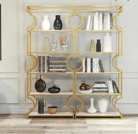 Nordic floor shelving light luxury beauty store cosmetics golden display cabinet nail display ornaments receive shelf