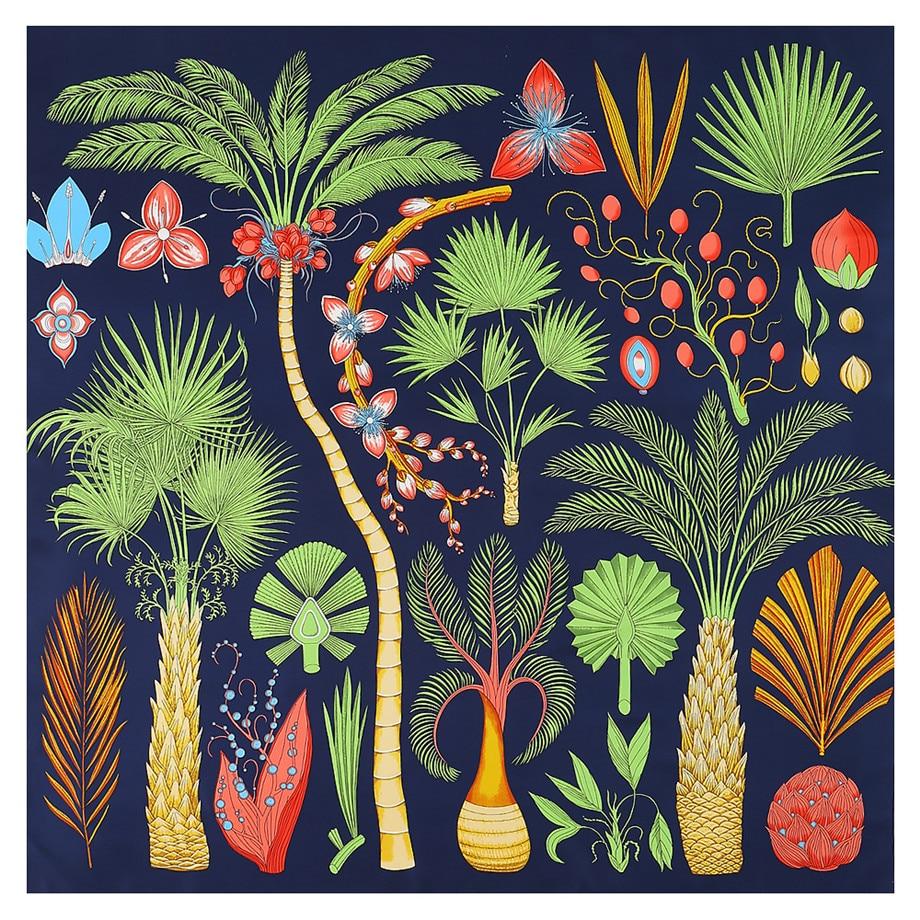 Luxury Brand Design Sago Cycas Palm Tree Winter Square Scarf 130cm Twill Silk Scarf Women Kerchief Scarves For Ladies Shawl