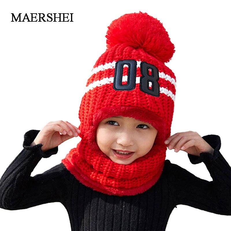 MAERSHEI Winter Beanies Girls Scarf Knitted Hat Caps Mask Gorras Bonnet Warm Winter Hats For Kids Women Skullies Beanies Hats