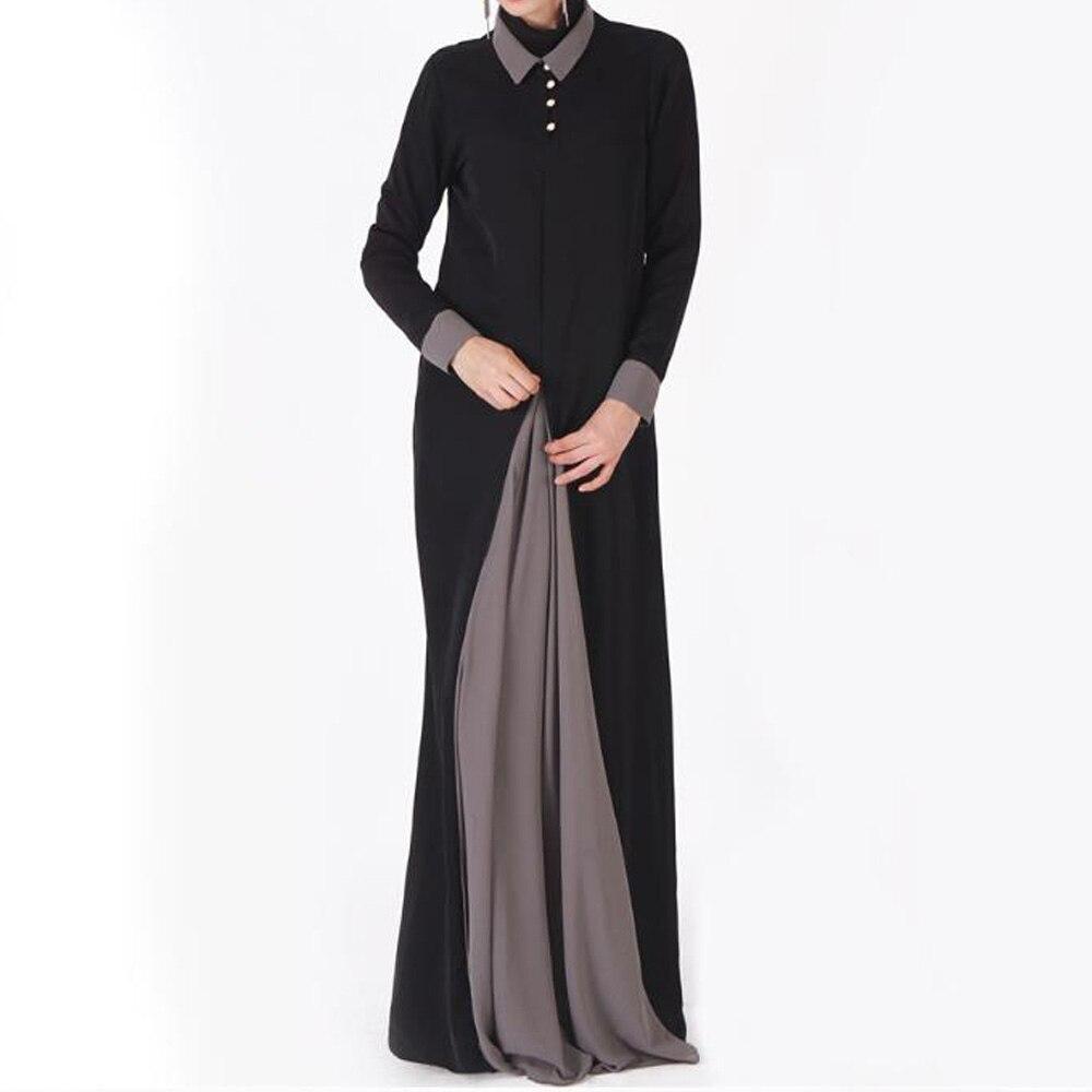 Robe musulmane femmes à manches longues Patchwork Abaya marocain dubaï arabe turquie Qatar caftan lâche chemise robe vêtements islamiques