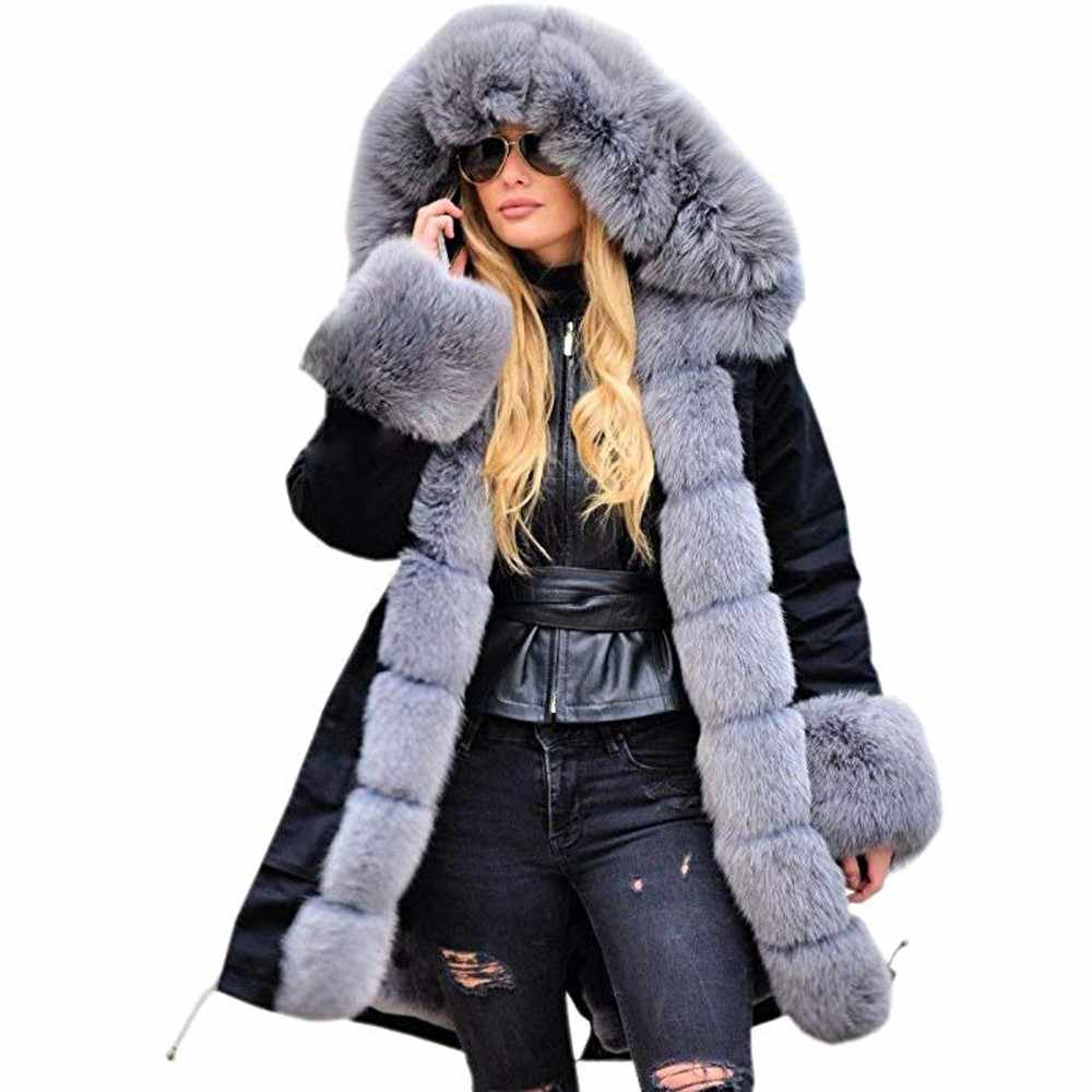 Women Parka Mujer Winter Coats Warm Faux Fur Jacket Hooded Coat Fishtail Long Sleeves Overcoat Ladies Outwear feminino 2019 New