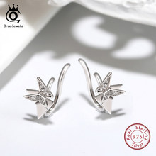ORSA JEWELS Pure 925 Butterfly Ear Clip AAAA Clear CZ Sterling Silver Prevent Allergy Earrings Cute Animal Fine Jewelry ASE156(China)