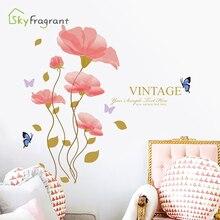 цена на Glamour pink flower wall stickers romantic wedding room decoration living room background wall decor bedroom sticker home decor