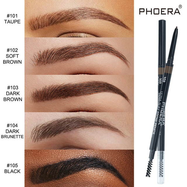 PHOERA 5 Color Double Ended Eyebrow Pencil Waterproof Long Lasting No Blooming Rotatable Eyebrow Tattoo Pen Makeup Brush