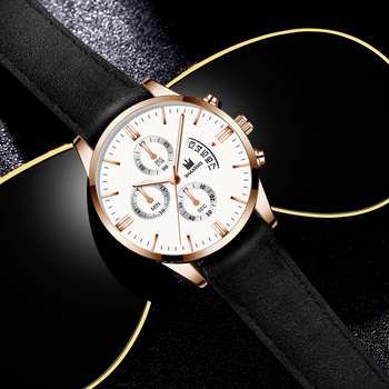 Relogio Masculino watches men fashion Sport box stainless steel leather band watch Quartz business wristwatch Reloj Hombre 2019