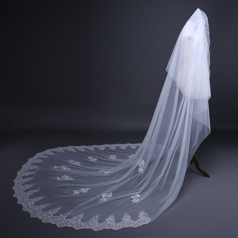 JaneVini Elegant Two Layers Cathedral Long Ivory Veil with Comb Appliques Edge Beaded Tulle Bridal Veil for Wedding Accessories