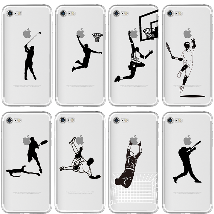 Sports basketball tennis Soft TPU Phone Case for iphone 11 Pro Max 7 8 6 S Plus 5 5S SE X XR XS MAX Football baseball black back image