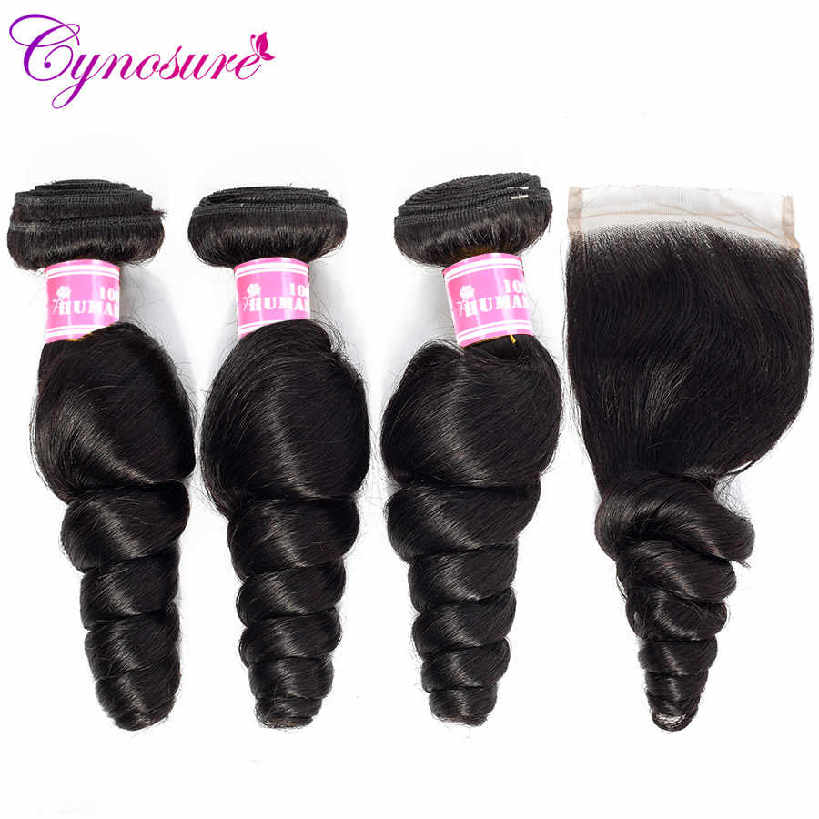 Cynosure Loose Wave Bundles with Closure Remy Human Hair Bundles with Closure Brazilian Hair Weave 3 Bundles with Closure