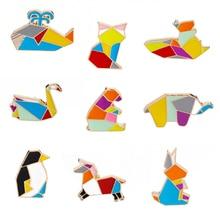 9pcs/set Origami Animal Lapel Pin Enamel Pins Elephant Rabbit Bunny Bear Squirrel Whale Fish Penguin Fox Design