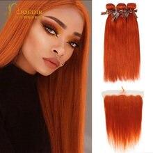 Бразильские оранжевые пряди волос с застежкой прямые человеческие