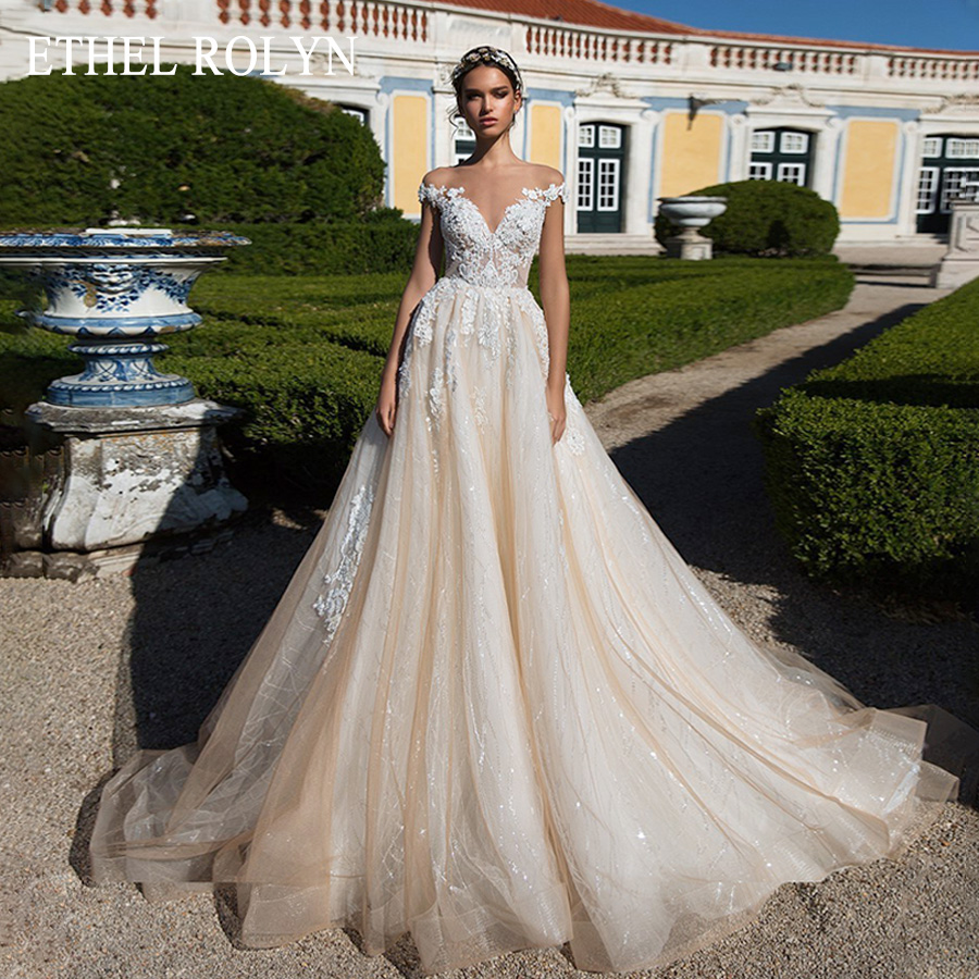 ETHEL ROLYN Romantic Sweetheart Lace Princess Wedding Dress Off The Shoulder Luxury Beaded Appliques Short Shining Wedding Gowns