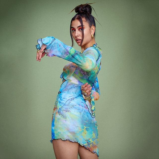 BOOFEENAA Aesthetic Butterfly Tie Dye Printed Sheer Mesh Mini Dress Y2k Sexy Cut Out Long Sleeve Bodycon Dress Clubwear C85-BF12 5