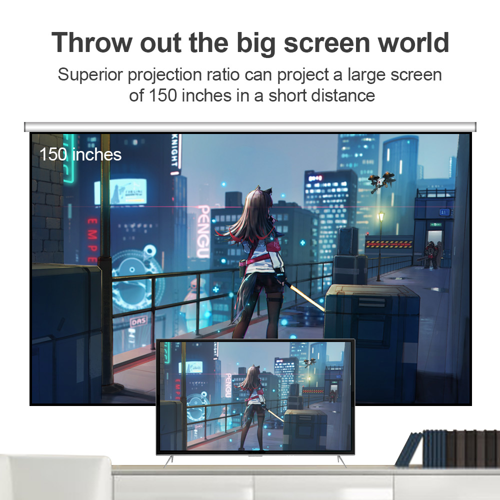 Image 2 - CRENOVA 2019 The Best Sale Android Video Projector C8 1280*720P Native Resolution With WIFI Bluetooth Home Cinema Movie Beamer-in LCD Projectors from Consumer Electronics