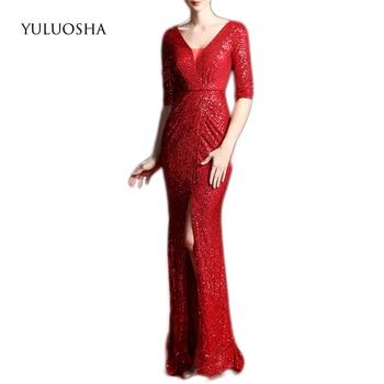 YULUOSHA Gold Evening Dresses Long Sequined A-Line Floor-Length Liza Gown Crystal Dress Vestido Largo Fiesta Noche Elegante