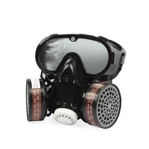 Image 1 - 2in1 الصناعية الغبار قناع مكافحة الغبار مكافحة السموم حملق عيون الأنف الفم حماية التنفس قناع واقي من الغاز السلامة الكيميائية أقنعة