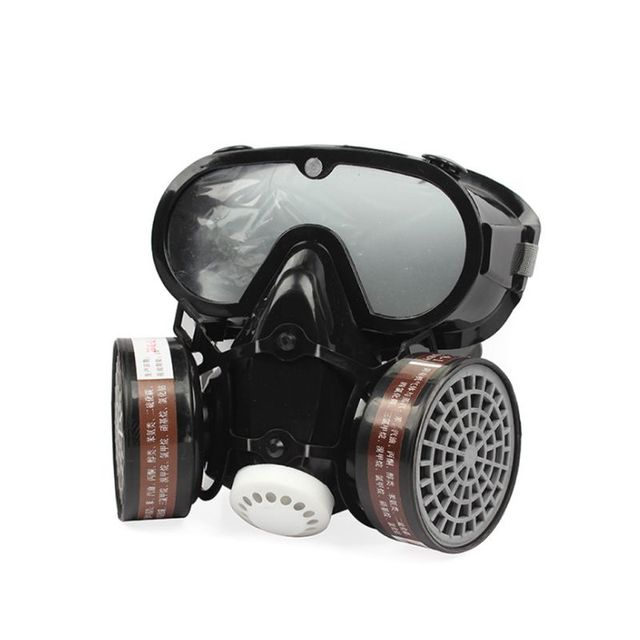 2in1 الصناعية الغبار قناع مكافحة الغبار مكافحة السموم حملق عيون الأنف الفم حماية التنفس قناع واقي من الغاز السلامة الكيميائية أقنعة