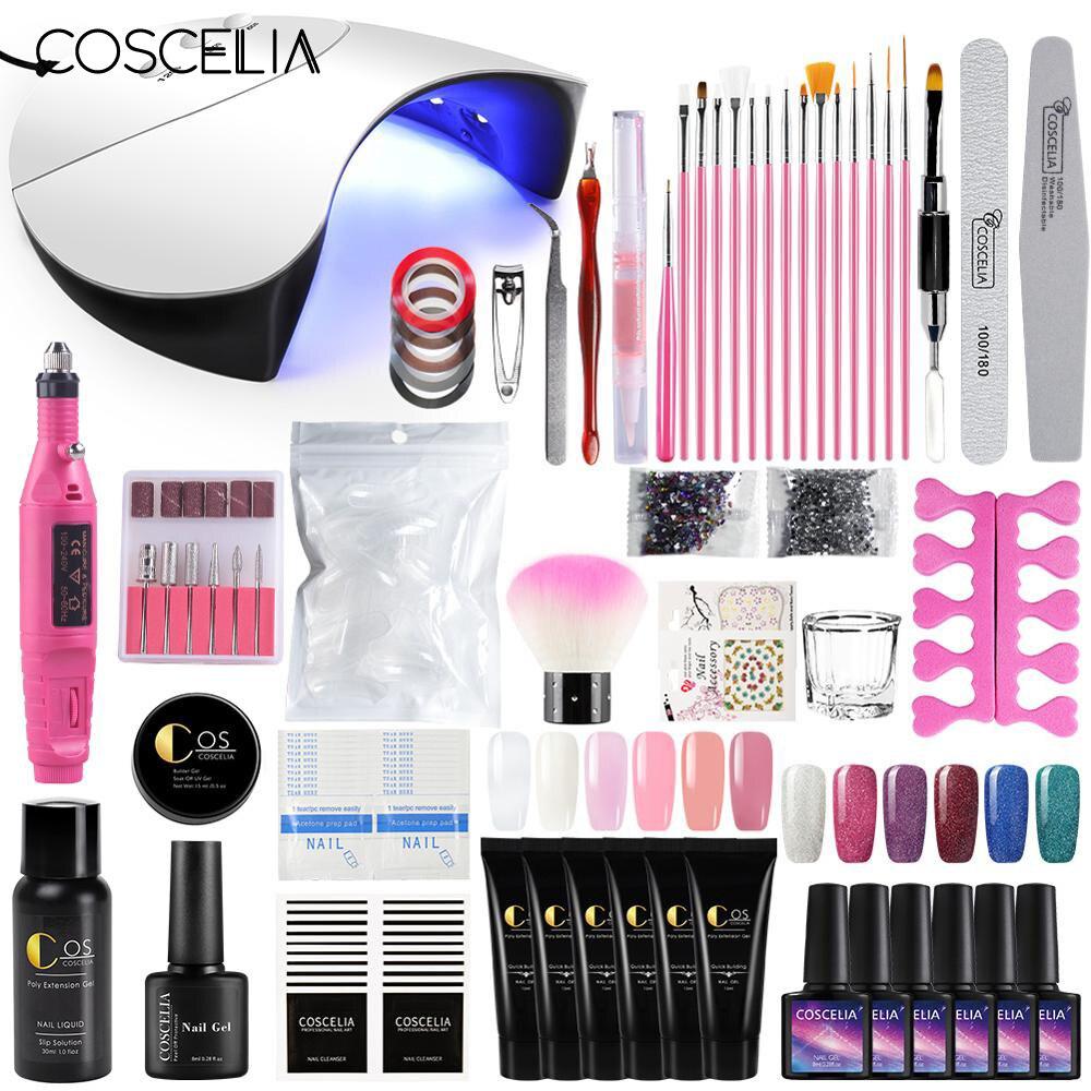 COSCELIA 36W UV LED Nail Lamp Dryer Gel Polish Varnish Poly Gel Nail Kit Electric Nail Drill For Nails Art Manicure Tools Set