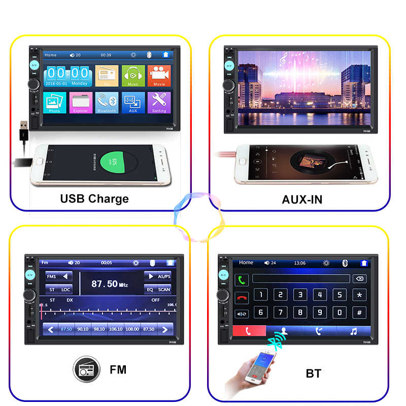 "2 Din Auto Radio 7 ""Hd Speler MP5 Touch Screen Digitale Display Bluetooth Multimedia Usb 2din Autoradio Auto Backup monitor"