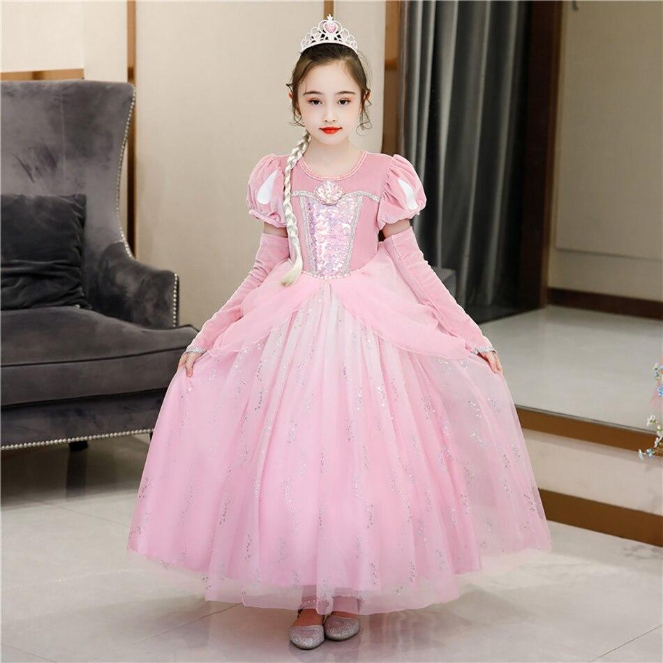 VOGUEON Pink Mermaid Princess Dress Girls Sequined Shell Beading Costume Kids Velvet Puff Sleeve Luxury Ariel Children Clothing