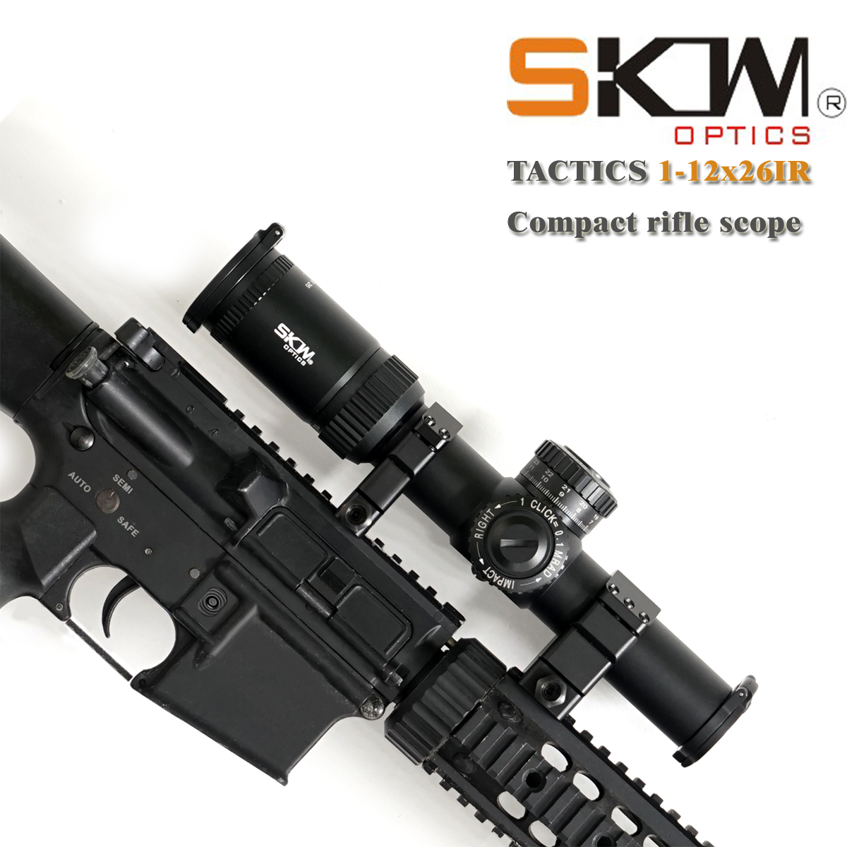 SKWoptics 1-12x26 Rifle Scopes With 34mm CNC Rings Military Tactical Reticle Shock Proof Riflescopes Hunting